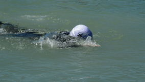 Schwimmer, die in einem See in einem Triathlon schwimmen stock video