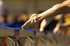 Schwimmer springen in das Wasser Stockfotos