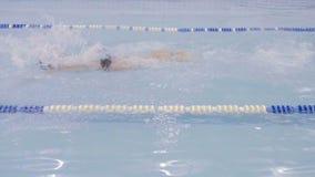Schwimmeraufwärmen bevor dem Schwimmen stock video