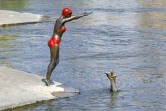 Schwimmerstatue Skopje Stockbilder