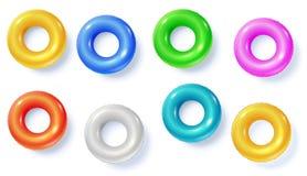 Schwimmringe lokalisiert auf weißer, Draufsicht Farbige aufblasbare Kreise für das Schwimmen in der Ebene legen Position Satz des vektor abbildung