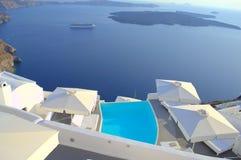 Schwindel erregende Ansicht von Santorini Lizenzfreie Stockfotografie