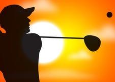 Schwingen des Golfspielers lizenzfreie abbildung