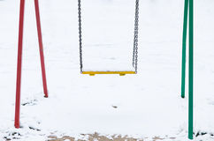 Schwingen im Schnee Stockfotos