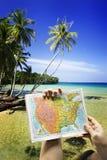 Schwingen unter Kokosnussbaum und -meer Stockbild