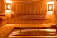 Schwitzender Raum in der Sauna Stockbild