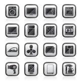 Schwärzen Sie Ikonen eines weiße Haushaltsgeräts Lizenzfreie Stockbilder