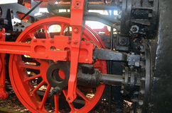 Schwungrad von einer alten Dampflokomotive stockfoto