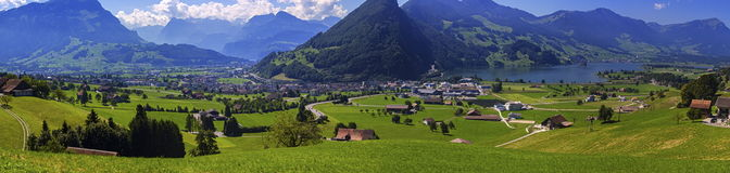 Schwyz canton panoramic view, Switzerland Stock Photos