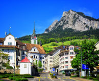 Schwyz town in Alps mountains, Central Switerland Royalty Free Stock Photo