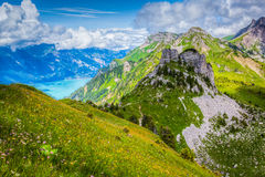 Schynige Platte and Lake Breinze Stock Photography