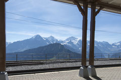Schynige Platte railway terminus station. The three iconic Alpine peaks in Switzerland: Eiger, Monch and Jungfrau seen from the terminus station at the Schynige Stock Photography