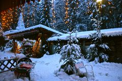 Schzarzsee冰宫殿在圣诞节的瑞士 库存照片
