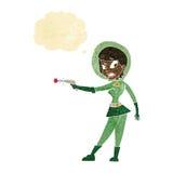 sci κινούμενων σχεδίων κορίτσι FI με τη σκεπτόμενη φυσαλίδα Στοκ φωτογραφία με δικαίωμα ελεύθερης χρήσης
