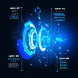 Sci φουτουριστικό ενδιάμεσο με τον χρήστη FI, infographics, HUD, διανυσματικό υπόβαθρο τεχνολογίας ελεύθερη απεικόνιση δικαιώματος