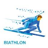 Sci andante del giocatore di biathlon velocemente con un fucile Fotografia Stock Libera da Diritti