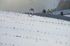 Sci del WC che pilota Vikersund (Norvegia) il 14 febbraio 2015 Fotografie Stock Libere da Diritti