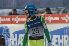 Sci del WC che pilota Vikersund (Norvegia) il 14 febbraio 2015 (dalla seconda metà Fotografia Stock