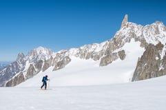 Sci dell'alpinista Fotografie Stock Libere da Diritti