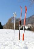 Sci di fondo nelle montagne con neve Fotografie Stock Libere da Diritti