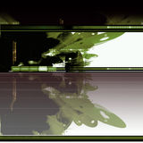Sci-fi abstract background. Abstract background template with futuristic green building reflecting in water Stock Images