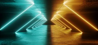 Sci Fi Abstract Futuristic Modern Dark Empty Grunge Textured Con. Crete Long Corridor Tunnel With Triangle Neon Led Laser Tube Light Lines Glowing Orange And royalty free illustration