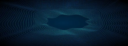 Sci-fi abstract geometric waves tech banner Royalty Free Stock Image