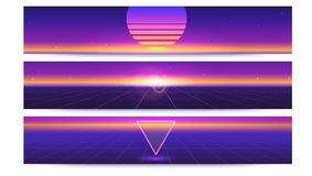 Sci fi abstract long horizontal banners with the sun on the horizon. Retro gradient, vintage style of the 80s. Digital Royalty Free Stock Images