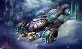Sci-Fi Aircraft, the Shrimp Spaceship, Science Fiction Spacecraft and City Scene with Fantastic, Realistic and Futuristic Style. Video Game`s Digital CG stock illustration