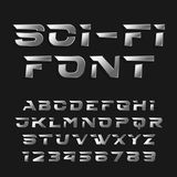 Sci-fi alphabet vector font. Futuristic chrome effect type letters and numbers. Royalty Free Stock Photography
