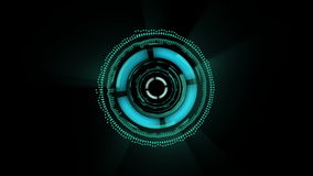 Sci-fi animated interface. different shapes are rotating on black background
