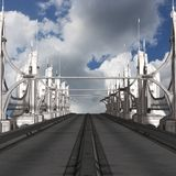 Sci-Fi Background with a bridge Royalty Free Stock Images
