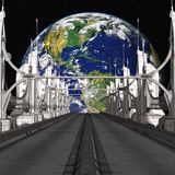 Sci-Fi Background with a bridge Stock Photos