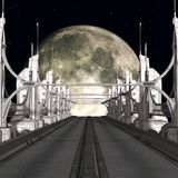 Sci-Fi Background with a bridge Stock Photo