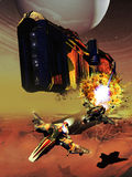 Sci-fi battle. Pursuit between two fighter spacecrafts flying over an alien planet, after the destruction of a gigantic spaceship Royalty Free Stock Images