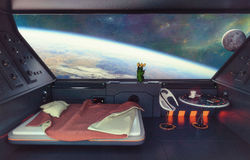 Sci-Fi Bedroom Interior. 3D. Sci-Fi Bedroom Interior Royalty Free Stock Images