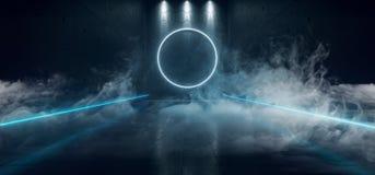 Sci Fi Blue Circle de incandescência de néon concreto reflexivo escuro futurista deu forma à luz com o diodo emissor de luz da lu ilustração stock