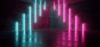 Sci Fi Blue Pink Purple Neon Futuristic Cyberpunk Glowing Retro Modern Vibrant Lights Laser Show Empty Stage Room Hall Reflective stock illustration