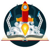 Sci-Fi Book with Rocket Launch Royalty Free Stock Photo