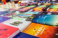 Sci-fi books displayed on a stand in Eskisehir book fair stock images