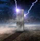 Sci fi brick. Strange Monolith on Lifeless Planet royalty free illustration