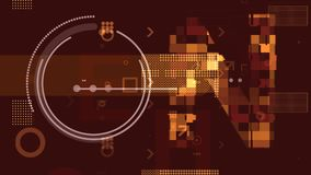 Sci-fi Brown and Golden Techno Backdrop. A volumetric 3d illustration of golden technological squares, rectangles, stripes, circles and arrows composing some royalty free illustration