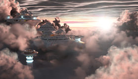 Sci-Fi City in the Clouds Stock Photos