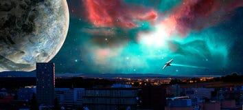 Sci-fi city with nebula, planet and spaceships, photo manipulati. On stock illustration