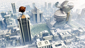 Sci-Fi Cityscape High Altitude Royalty Free Stock Photos