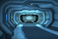 Sci-Fi corridor interior design. 3d illustration Royalty Free Stock Photography