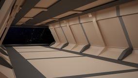 Sci-Fi corridor interior design.3D rendering Royalty Free Stock Photo