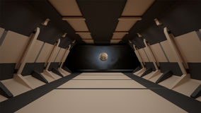 Sci-Fi corridor interior design.3D rendering Stock Photos