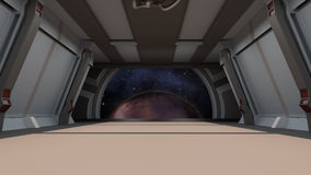 Sci fi  corridor with view of space galaxy Stock Photography