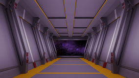 Sci fi  corridor with view of space galaxy 3d  render Royalty Free Stock Photo